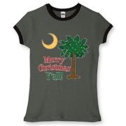 Buy a Merry Christmas Y'all Palmetto Moon Women's Fitted Ringer Tee and have a Merry Christmas, y'all, in South Carolina style.