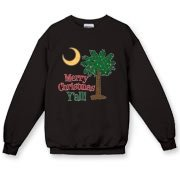 Buy a Merry Christmas Y'all Palmetto Moon Crewneck Sweatshirt and have a Merry Christmas, y'all, in South Carolina style.
