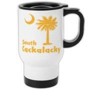 Yellow South Cackalacky Palmetto Moon Travel Mug features the South Carolina palmetto moon logo in yellow.