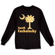 Yellow Polka Dots South Cackalacky Palmetto Moon Long Sleeve T-Shirt features a Polka Dot South Carolina palmetto moon logo in yellow.