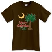 Merry Christmas Y'all Palmetto Moon shirts, apparel and gifts. Celebrate Christmas in South Carolina with this festive design.
