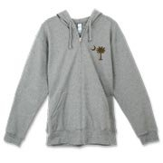 Buy a Chocolate Brown Palmetto Moon Canvas Freemont Full-Zip Hoodie featuring a smaller palmetto printed on the left chest area. The palmetto moon is a symbol of South Carolina pride.