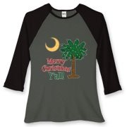 Buy a Merry Christmas Y'all Palmetto Moon Women's Fitted Baseball Tee and have a Merry Christmas, y'all, in South Carolina style.