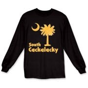 Yellow South Cackalacky Palmetto Moon Long Sleeve T-Shirt features the South Carolina palmetto moon logo in yellow.