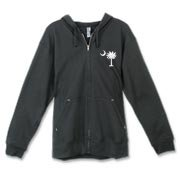 Buy a White Carolina Girl Deluxe Canvas Freemont Full-Zip Hoodie. This two-sided design features a small palmetto moon printed on the front left chest area and matching Carolina Girl palmetto design on the back. The palmetto moon is a symbol of South Caro