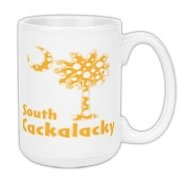 Yellow Polka Dots South Cackalacky Palmetto Moon Large Coffee Mug features a Polka Dot South Carolina palmetto moon logo in yellow.