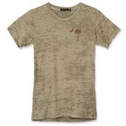 Buy a Chocolate Brown Palmetto Moon Alternative Apparel Women's Burnout T-Shirt featuring a smaller palmetto printed on the left chest area. The palmetto moon is a symbol of South Carolina pride.