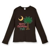 Buy a Merry Christmas Y'all Palmetto Moon Women's Fitted Baby Rib Long Sleeve Tee and have a Merry Christmas, y'all, in South Carolina style.