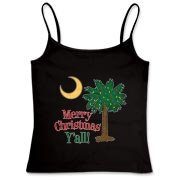 Buy a Merry Christmas Y'all Palmetto Moon Women's Fitted Camisole Tank and have a Merry Christmas, y'all, in South Carolina style.