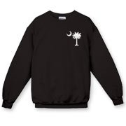 Buy a White Carolina Girl Deluxe Crewneck Sweatshirt. This two-sided design features a small palmetto moon printed on the front left chest area and matching Carolina Girl palmetto design on the back. The palmetto moon is a symbol of South Carolina pride.