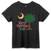 Buy a Merry Christmas Y'all Palmetto Moon Hanes Women's Cool Dri T-shirt and have a Merry Christmas, y'all, in South Carolina style.