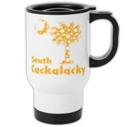 Yellow Polka Dots South Cackalacky Palmetto Moon Travel Mug features a Polka Dot South Carolina palmetto moon logo in yellow.