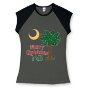 Buy a Merry Christmas Y'all Palmetto Moon Women's Fitted Cap Sleeve Tee and have a Merry Christmas, y'all, in South Carolina style.