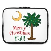 Buy a Merry Christmas Y'all Palmetto Moon Laptop Sleeve and have a Merry Christmas, y'all, in South Carolina style.