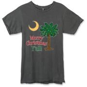 Buy a Merry Christmas Y'all Palmetto Moon Alternative Apparel Destroyed T-Shirt and have a Merry Christmas, y'all, in South Carolina style.