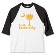 Yellow South Cackalacky Palmetto Moon Baseball Jersey features the South Carolina palmetto moon logo in yellow.