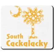 Yellow Polka Dots South Cackalacky Palmetto Moon Mousepad features a Polka Dot South Carolina palmetto moon logo in yellow.