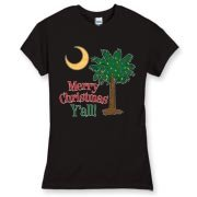 Buy a Merry Christmas Y'all Palmetto Moon Women's Fitted Fine Jersey Tee and have a Merry Christmas, y'all, in South Carolina style.