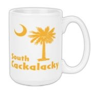 Yellow South Cackalacky Palmetto Moon Large Coffee Mug features the South Carolina palmetto moon logo in yellow.