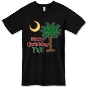 Buy a Merry Christmas Y'all Palmetto Moon American Apparel T-Shirt and have a Merry Christmas, y'all, in South Carolina style.