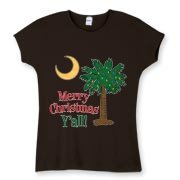 Buy a Merry Christmas Y'all Palmetto Moon Women's Fitted Baby Rib Tee and have a Merry Christmas, y'all, in South Carolina style.