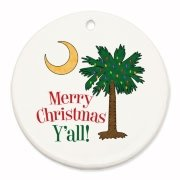 Buy a Merry Christmas Y'all Palmetto Moon Round Ornament and have a Merry Christmas, y'all, in South Carolina style.