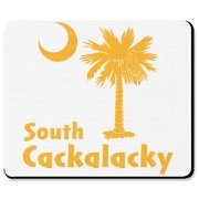 Yellow South Cackalacky Palmetto Moon Mousepad features the South Carolina palmetto moon logo in yellow.