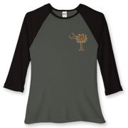 Buy a Chocolate Brown Palmetto Moon Women's Fitted Baseball Tee featuring a smaller palmetto printed on the left chest area. The palmetto moon is a symbol of South Carolina pride.