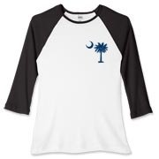 South Carolina Outline Women's Fitted Baseball Tee with an outline of the state of South Carolina and the popular Palmetto Moon logo on the back and a blue palmetto moon on the front.