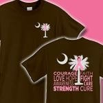 Pink Ribbon Palmetto Tree symbolizes the fight against Breast Cancer in South Carolina. Deluxe version features design printed on front and back. Proceeds from Pink Ribbon Palmetto Tree items donated to support the efforts to find a cure.
