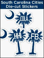 South Carolina Cities Palmetto Moon die-cut stickers